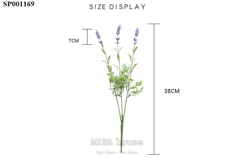 Kích thước hoa lavender cành 3 nhánh tím cao - hoa oải hương giả đẹp trang trí nhà quán cafehiện đại