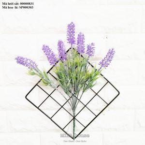 Lưới sắt kèm hoa lavender tím -hoa oải hương màu tím treo tường trang trí nhà, quán cafe, cửa hàng đẹp độc đáo