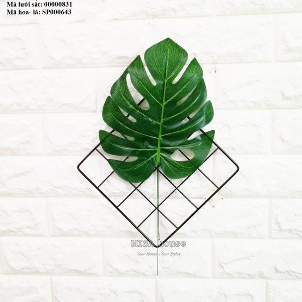 Lưới sắt kèm lá cọ rùa treo tường trang trí nhà, quán cafe, cửa hàng đẹp độc đáo
