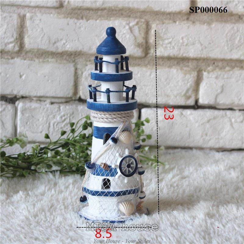 Ngọn hải đăng cao 23cm đồ trang trí chủ đề biển bằng gỗ