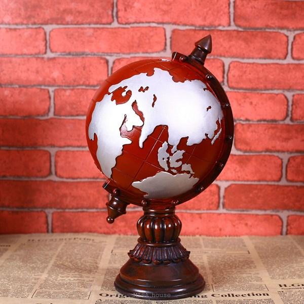 Quả địa cầu decor trang trí phong cách vintage màu đỏ – Đỏ