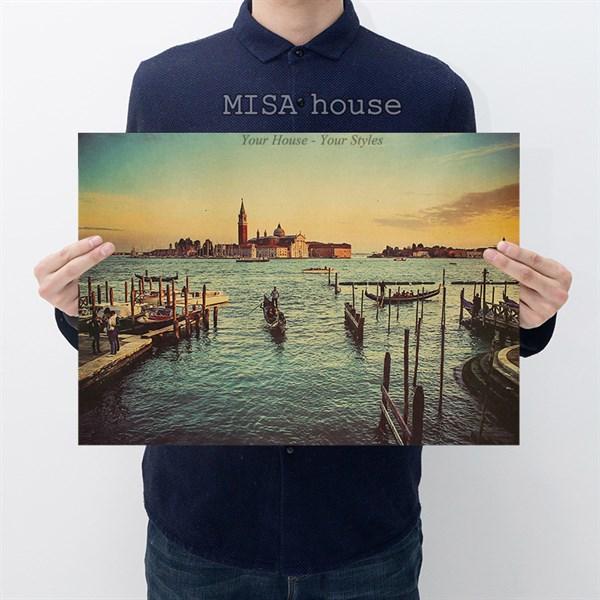 Tranh giấy hoàng hôn trên cảng tàu phong cách vintage