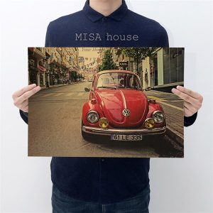 Tranh giấy craft treo tường phong cách vintage hình xe hơi cổ thời Pháp màu đỏ