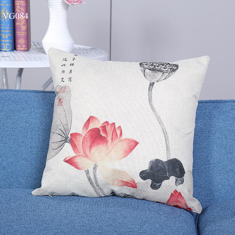 Vỏ gối tựa lưng, gối sofa trang trí vuông (size 45×45) mẫu trơn giá rẻ, uy tín, chất lượng nhất mẫu hoa sen