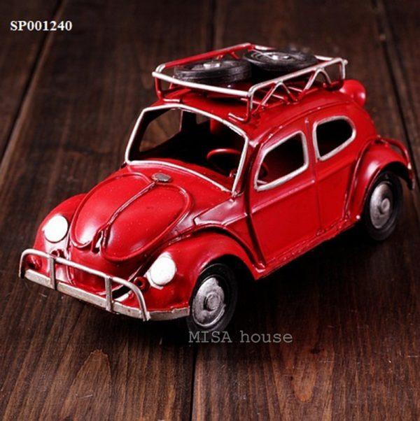 Xe hơi vintage sắt màu đỏ giả cổ – đồ decor trang trí nhà -quán cafe phong cách giả cổ điển vintage