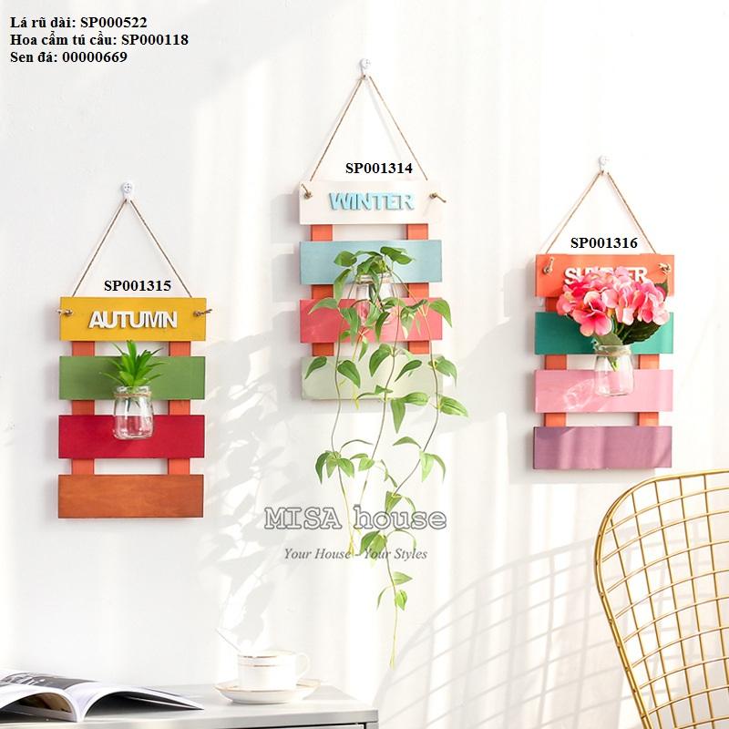 Bộ 3 bảng gỗ thủy tinh màu bốn mùa Xuân – Hạ – Thu – Đông trang trí tường nhà quán cafe spa đẹp để hoa giả và lá rũ