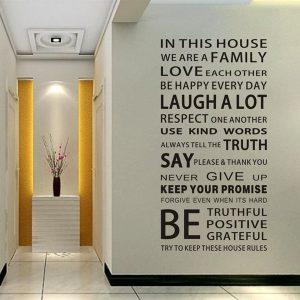 Decal dán tường đẹp chữ Be trắng đen đẹp - tranh dán tường đẹp ý nghĩa dành cho gia đình