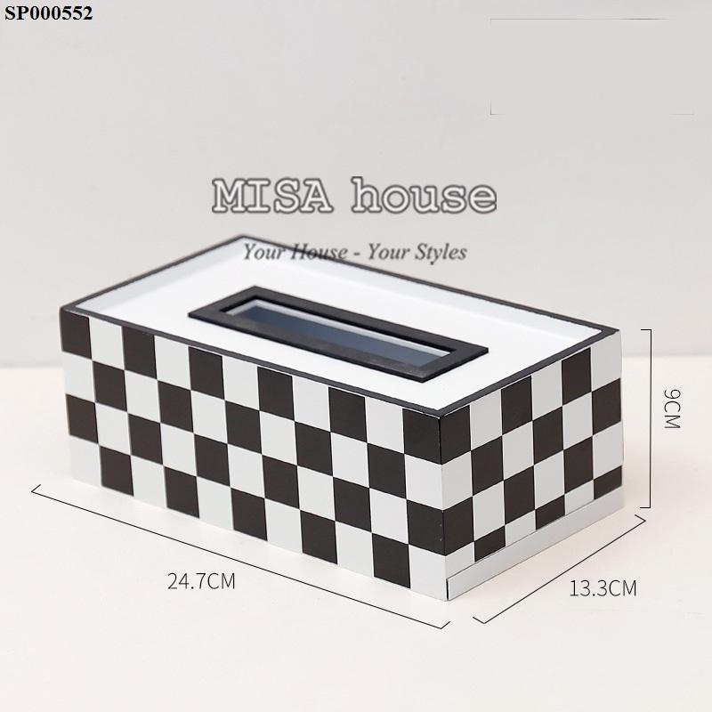 Hộp khăn giấy gỗ caro trắng + đen