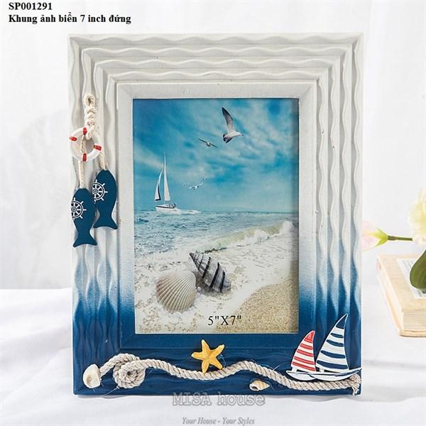 Bộ 4 khung ảnh biển vuông để bàn trang trí nhà, quán cafe đẹp phong cách địa trung hải