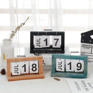 Lịch gỗ giấy để bàn trang trí hiện đại - đồ trang trí để bàn decor tủ kệ phòng khách phòng ngủ - lịch để bàn làm việc