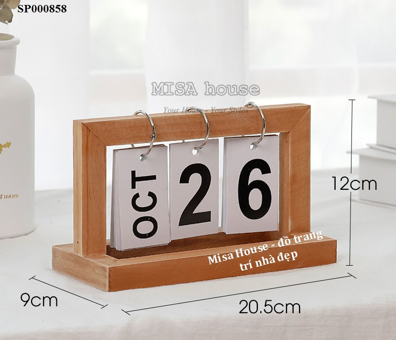 Lịch gỗ giấy để bàn trang trí hiện đại – đồ trang trí để bàn decor tủ kệ phòng khách phòng ngủ – lịch để bàn làm việc
