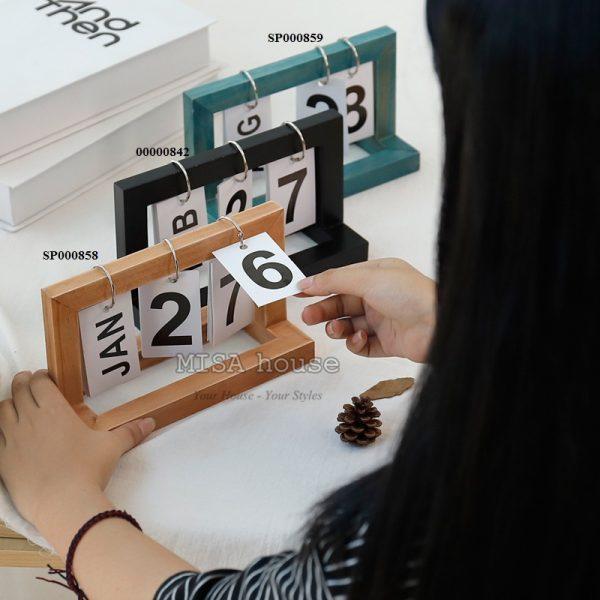 Lịch gỗ giấy để bàn làm việc trang trí hiện đại – đồ trang trí để bàn decor tủ kệ phòng khách – phòng ngủ tiện lợi