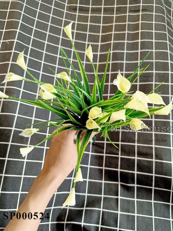Cụm hoa calla – hoa rum nhựa màu trắng hoa giả decor trang trí