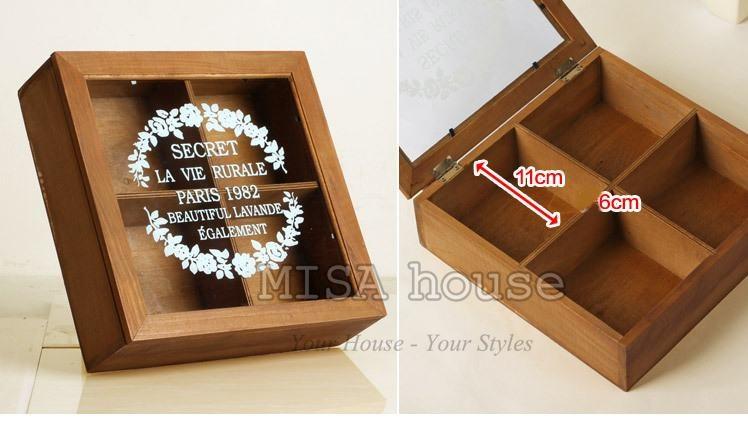 Hộp gỗ nắp kính vintage đựng bánh kẹo – đựng đồ