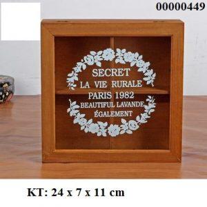 Hộp gỗ nắp kính vintage đựng bánh kẹo - đựng đồ