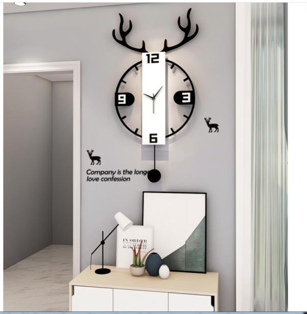 Đồng hồ treo tường đẹp hiện kèm con lắc – đồng hồ đầu hươu tròn phong thủy màu trắng đen tối giản Misa House tốt trong phong thủy