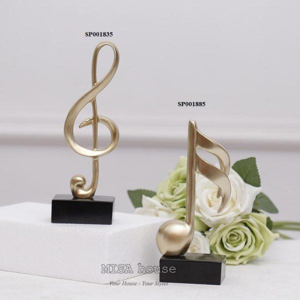 Bộ 2 mô hình nốt nhạc trang trí – Tượng trang trí để bàn tủ kệ phòng khách phòng ngủ – quà tặng tân gia – đồ decor đẹp