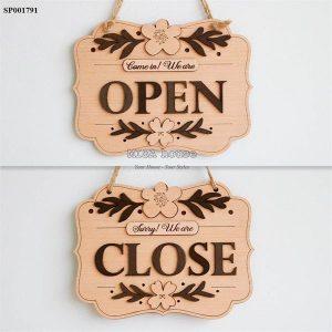 Bảng gỗ treo cửa mở đóng cửa trang trí open close hai mặt tiện lợi - bảng gỗ treo mở đóng cửa shop quán cafe store