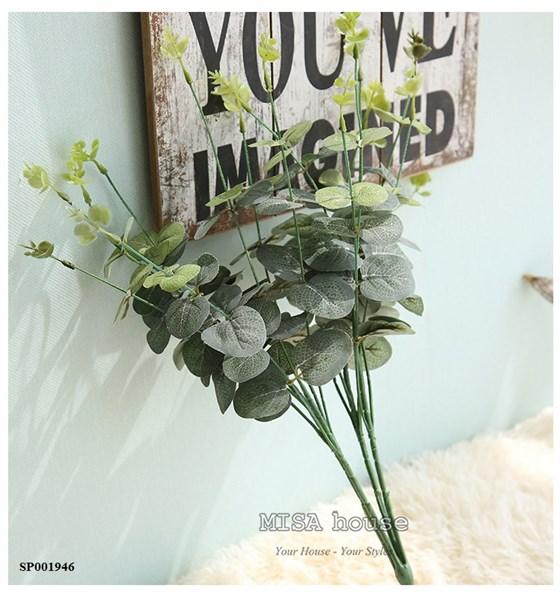 Cành lá xanh giả đẹp trang trí cây lá bạch đàn giả màutrắng phối cắm hoa hồng – hoa giả đẹp cao cấp giá rẻ tại TPHCM