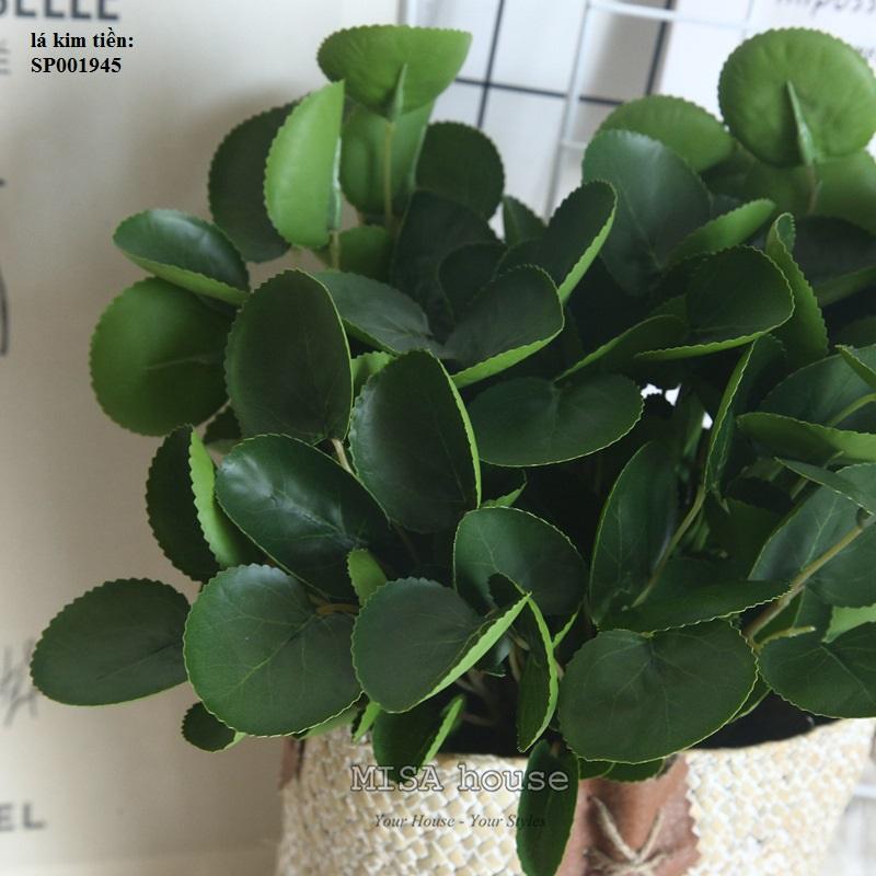 Cành lá xanh giả đẹp trang trí lá kim tiền phối cắm hoa – cành lá hoa giả đẹp cao cấp giá rẻ tại TPHCM