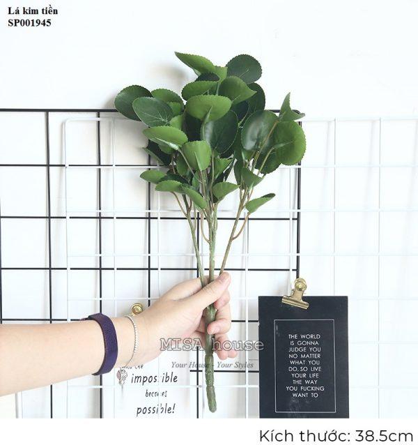 Cây hoa lá giả đẹp decor trang trí – đạo cụ chụp ảnh tại Sài Gòn – lá kim tiền decor trang trí nhà quán cafe phối cắm hoa