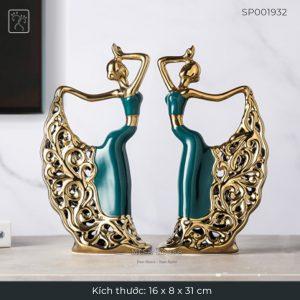 Tượng decor trang trí sang trọng hình Vũ công cô gái múa đẹp nghệ thuật màu xanh ngọc viền vàng cao cấp