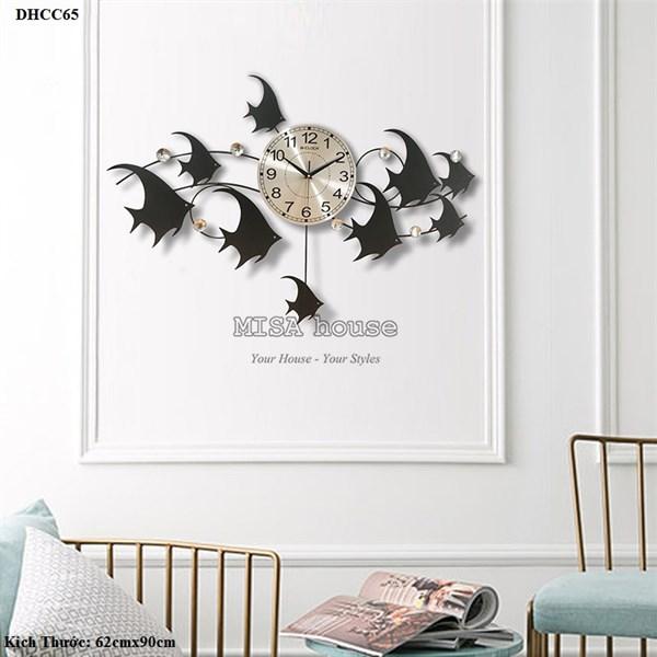 Đồng hồ treo tường cao cấp hình đàn cá bơi màu đen siêu đẹp - đồng hồ nghệ thuật hiện đại kim trôi loại 1