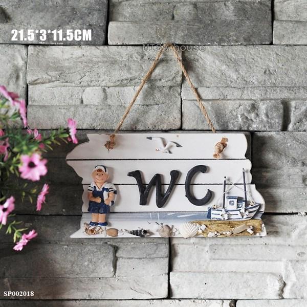Bảng gỗ treo cửa handmade treo Wc toilet decor trang trí chủ đề biển