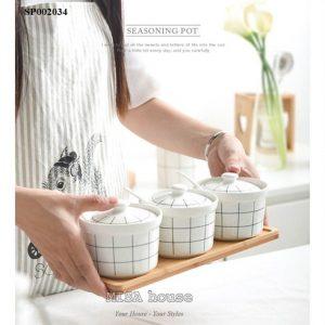 Bộ 3 hũ đựng gia vị bếp đẹp màu trắng caro hiện đại, trang trí bếp đẹp