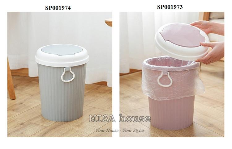 Thùng rác nhựa nắp bật trang trí nhà bếp màu xám tiện lợi vệ sinh dễ dàng xách