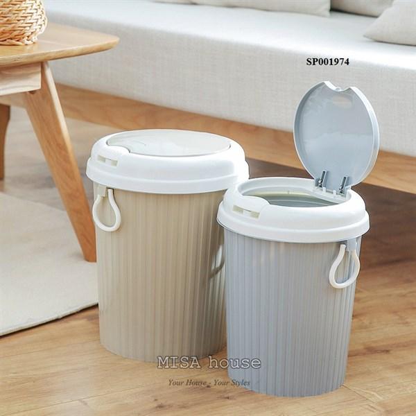 Thùng rác nhựa nắp bật trang trí nhà bếp màu xám tiện lợi vệ sinh