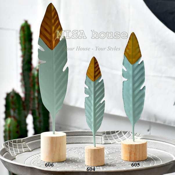 Đồ trang trí bàn decor trang trí tủ kệ phòng khách đẹp độc lạ - Bộ 3 cây lông vũ sắt - quà tặng tân gia