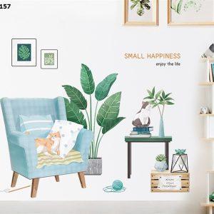 Tranh dán tường decor trang trí hình mèo dễ thương kèm lá cây xanh tropical - decal dán tường đẹp như vẽ
