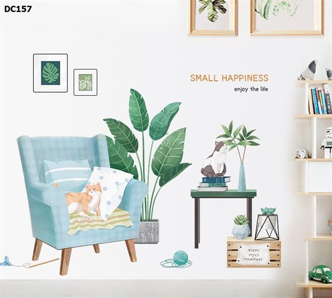 Tranh dán tường decor trang trí hình mèo dễ thương kèm lá cây xanh tropical – decal dán tường đẹp như vẽ