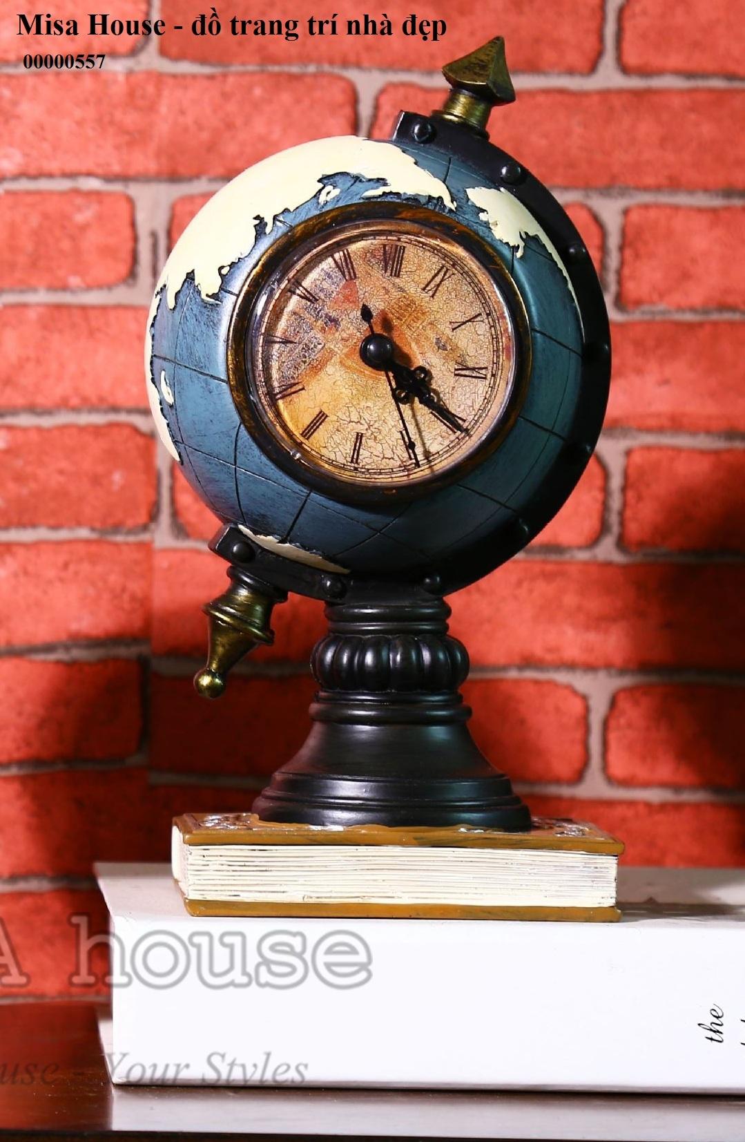 Đồng hồ trang trí để bàn trang trí tủ kệ phòng khách- Mô hình quả địa cầu đẹp độc lạ để bàn phong cách vintage