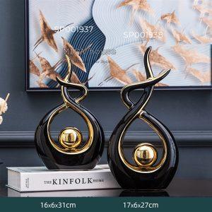 Bộ 2 Tượng trang trí decor phòng khách nhà đẹp độc lạ - đồ trang trí tượng gốm sứ ý nghĩa hình Đuốc lửa gốm sứ hiện đại