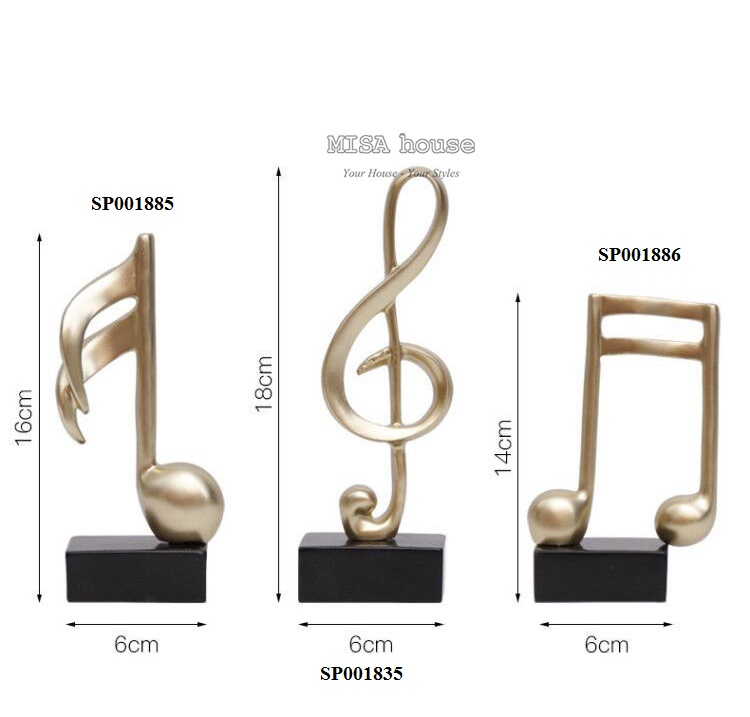 Kích thước chi tiết của bộ 3 nốt nhạc trang trí - Tượng trang trí để bàn tủ kệ phòng khách phòng ngủ - quà tặng tân gia - đồ decor đẹp độc lạ