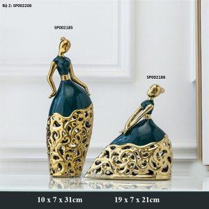 Tượng trang trí nghệ thuật đẹp độc lạ hình cô gái vũ công múa bằng gốm sứ cao cấp viền vàng trang trí phòng khách quà tặng tân gia