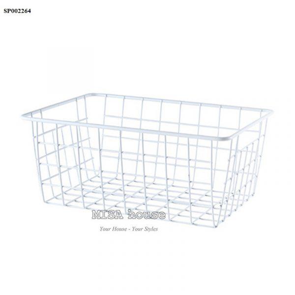 Giỏ đựng đồ lưới sắt màu trắng siêu xinh