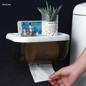 Kệ để trang trí nhà tắm nhà vệ sinh tiện lợi - hộp đựng giấy chống thấm nước không cần khoan tường