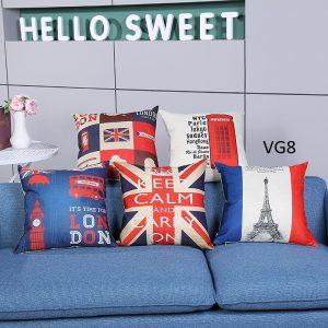 Vỏ gối tựa lưng, gối sofa trang trí vuông (size 45x45) mẫu trơn giá rẻ, uy tín, chất lượng nhất mẫu hình địa danh nổi tiếng thế giới eiffel anh london