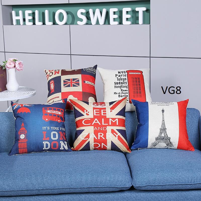 Vỏ gối tựa lưng, gối sofa trang trí vuông (size 45×45) mẫu trơn giá rẻ, uy tín, chất lượng nhất mẫu hình địa danh nổi tiếng thế giới eiffel anh london