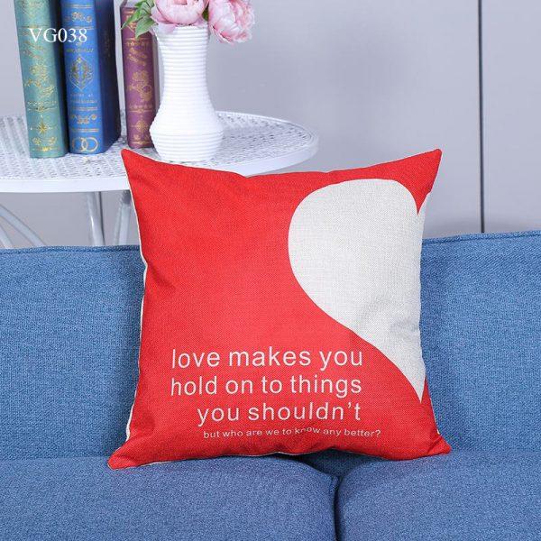 Vỏ gối tựa lưng, gối sofa trang trí vuông (size 45×45) mẫu trơn giá rẻ, uy tín, chất lượng nhất mẫu hình nửa tim đỏ