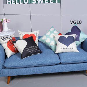Vỏ gối tựa lưng, gối sofa trang trí vuông (size 45x45) mẫu trơn giá rẻ, uy tín, chất lượng nhất mẫu hình tim