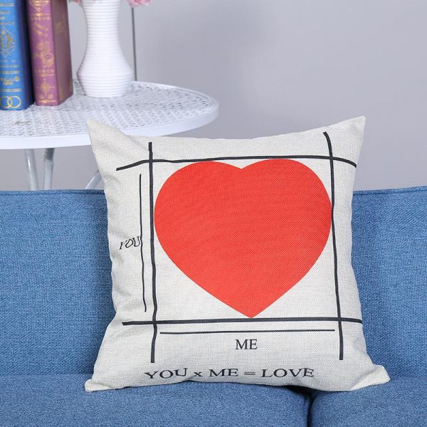 Vỏ gối tựa lưng, gối sofa trang trí vuông (size 45×45) mẫu trơn giá rẻ, uy tín, chất lượng nhất mẫu hình tim đỏ