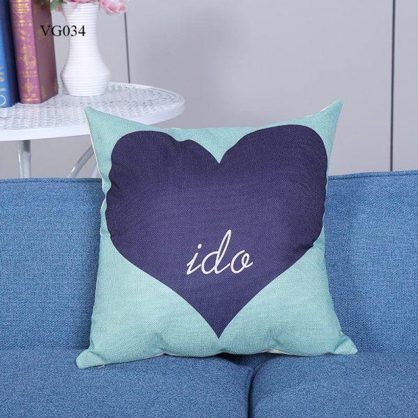 Vỏ gối tựa lưng, gối sofa trang trí vuông (size 45×45) mẫu trơn giá rẻ, uy tín, chất lượng nhất mẫu hình tim xanh