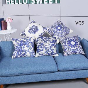 Vỏ gối tựa lưng, gối sofa trang trí vuông (size 45x45) mẫu trơn giá rẻ, uy tín, chất lượng nhất mẫu họa tiết xanh Embroider