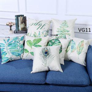Vỏ gối tựa lưng, gối sofa trang trí vuông (size 45x45) mẫu trơn giá rẻ, uy tín, chất lượng nhất mẫu lá phong cách tropical hiện đại