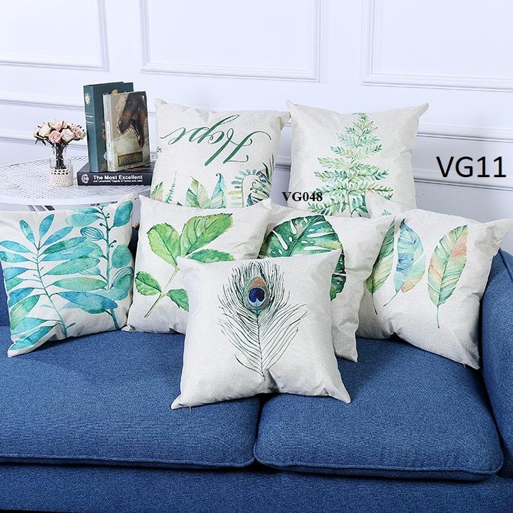 Vỏ gối tựa lưng, gối sofa trang trí vuông (size 45×45) mẫu trơn giá rẻ, uy tín, chất lượng nhất mẫu lá phong cách tropical hiện đại
