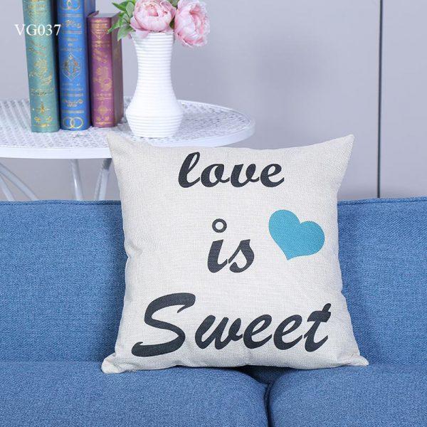 Vỏ gối tựa lưng, gối sofa trang trí vuông (size 45×45) mẫu trơn giá rẻ, uy tín, chất lượng nhất mẫu lOVE IS SWEET
